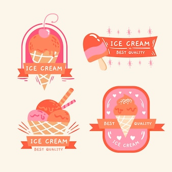 Hand drawn ice cream label collection