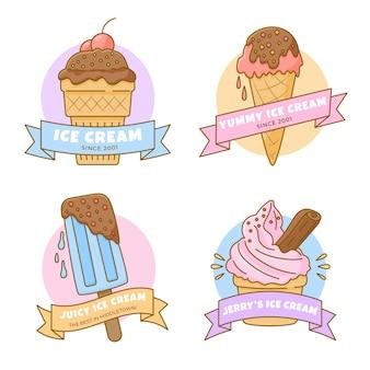 손으로 그린 아이스크림 라벨 컬렉션