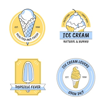 手描きアイスクリームラベルコレクション
