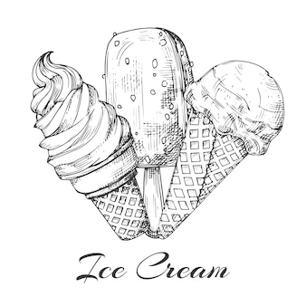 Hand drawn ice cream logo. sketch of ice cream   on white background