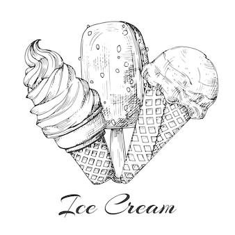 手描きのアイスクリームのロゴ。白い背景の上のアイスクリームのスケッチ