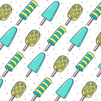 Hand drawn ice cream stick seamless pattern