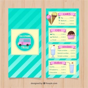Hand drawn ice cream truck menu template