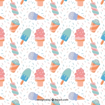 Hand drawn ice-creams pattern in pastel colors