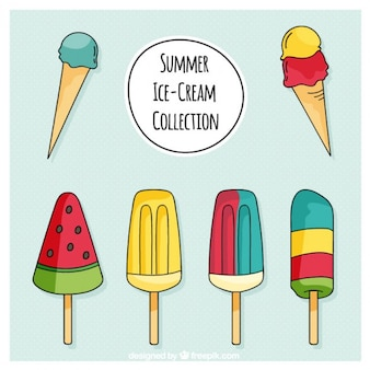 Hand drawn ice-creams set in colors