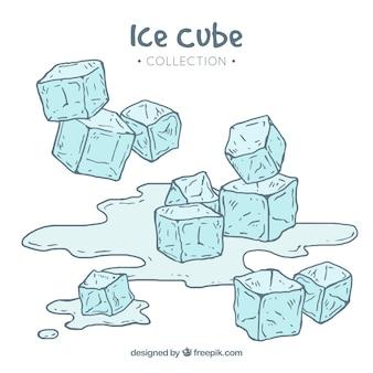 Collezione disegnata a mano di cubetti di ghiaccio Vettore gratuito