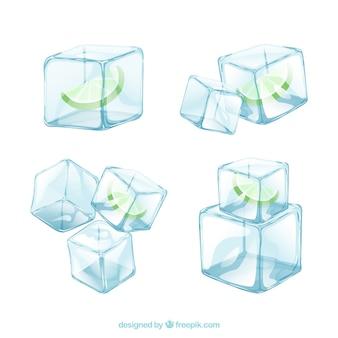 Коллекция рисованной кубики льда