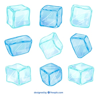 Collezione disegnata a mano di cubetti di ghiaccio