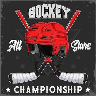 Нарисованный рукой красный шлем хоккея с шайбой и скрещенные клюшки с текстом чемпионата всех звезд хоккея