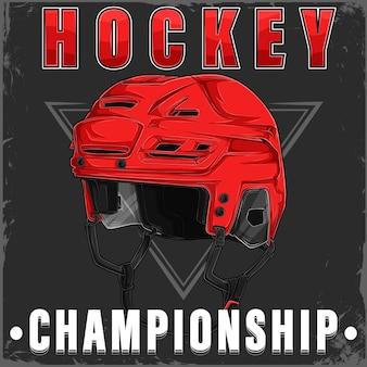 Ручной обращается хоккейный красный шлем с текстом чемпионата по хоккею с шайбой