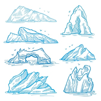 Confezione di iceberg disegnati a mano