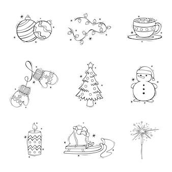 Ручной обращается набор иконок рождественских украшений в каракулях в стиле рождества и нового года каракулей