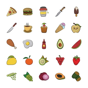 Hand drawn icons of food