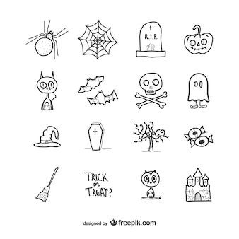 Hand drawn icons pack for halloween Premium Vector