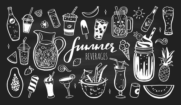 Hand drawn icons set of cold drinks summer cocktails and beverages with fruits