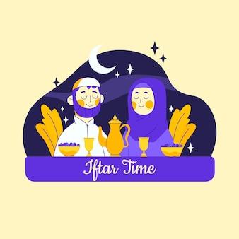 Нарисованная рукой иллюстрация ифтара с людьми, едящими