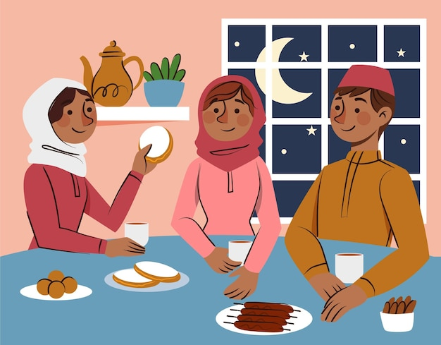 Нарисованная рукой иллюстрация ифтара с людьми Бесплатные векторы