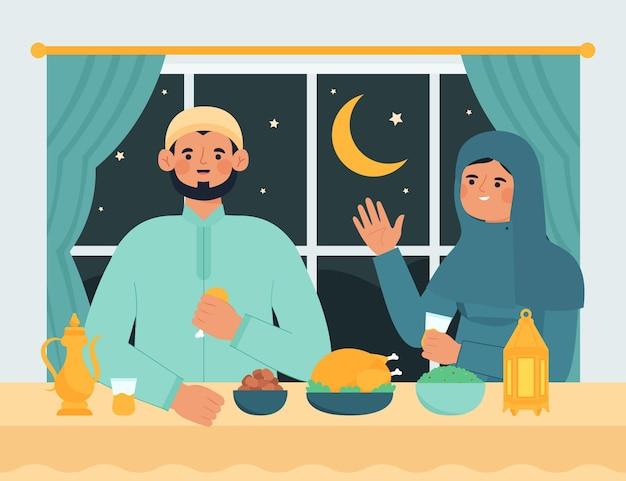Нарисованная рукой иллюстрация ифтара с людьми