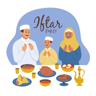Hand drawn iftar illustration with people