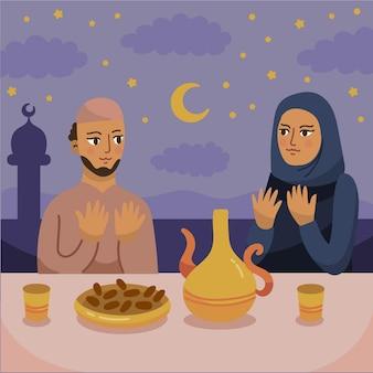 Illustrazione iftar disegnata a mano