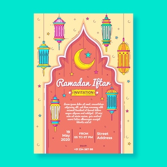 Hand drawn iftar invitation template
