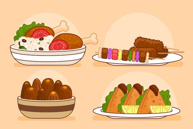Elementi di pasto iftar disegnati a mano