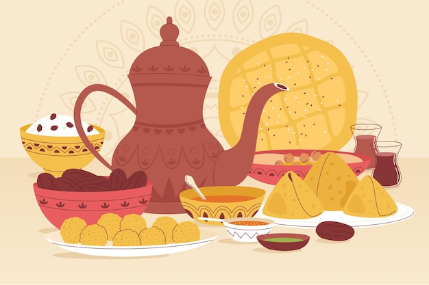 Hand drawn iftar meal illustration
