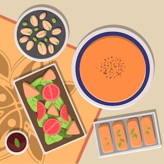 手描きイフタール食事イラスト