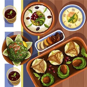Hand drawn iftar meal illustration