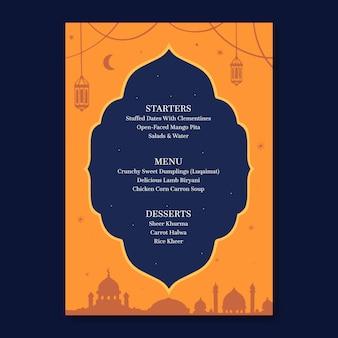Modello di menu iftar disegnato a mano