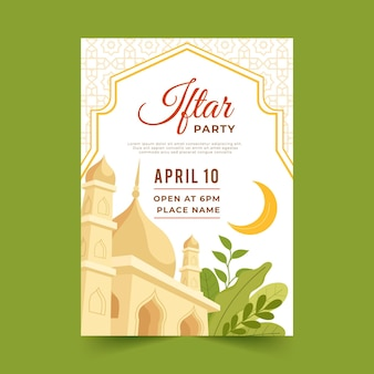Hand drawn iftar poster template