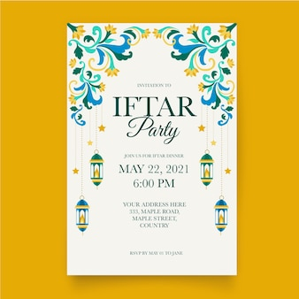 Hand drawn iftar vertical poster template