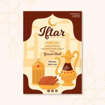 Modello di poster verticale iftar disegnato a mano