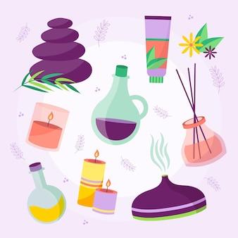 Elementi di aromaterapia illustrati disegnati a mano