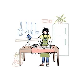 Hand drawn illustrated blogger