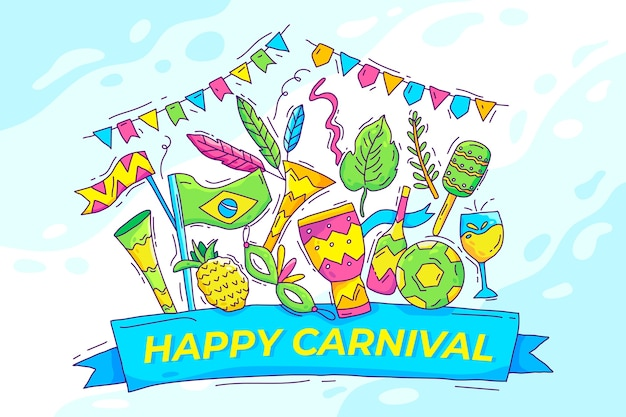 Hand drawn illustrated brazilian carnival elements