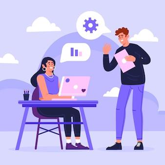 Concetto di comunicazione aziendale illustrato disegnato a mano