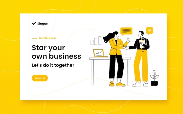 Hand drawn illustrated business landing page template