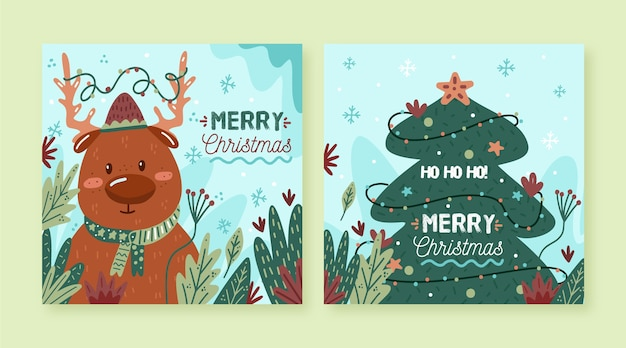 Hand drawn illustrated christmas cards