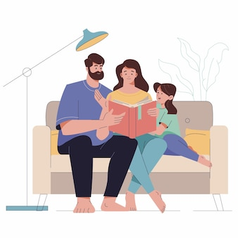 Hand drawn illustrated family scene
