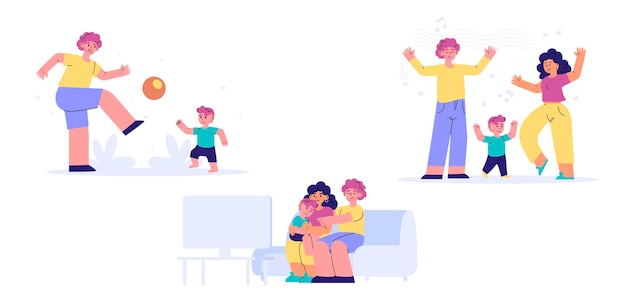 Hand drawn illustrated family scenes