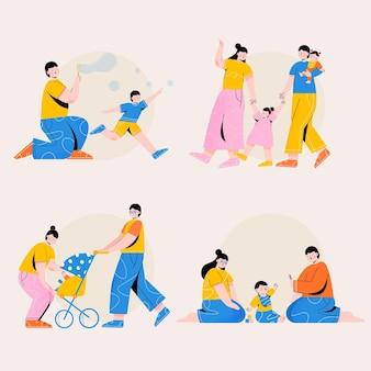 手描きイラスト家族のシーン