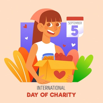 Hand drawn illustrated international day of charity event