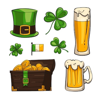 Hand drawn illustrated st. patrick's day elements