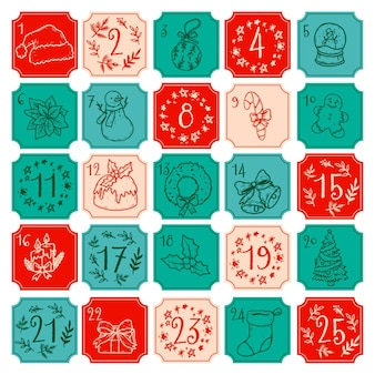Hand drawn illustration advent calendar