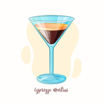 Hand drawn illustration of alcohol drink espresso martini cocktail