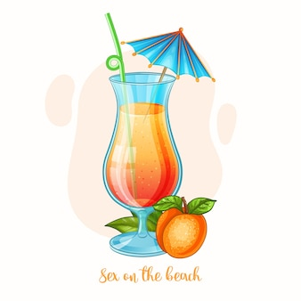 Hand drawn illustration of alcohol drink sex on the beach cocktail glass