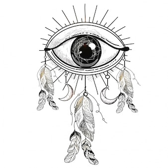 Hand drawn illustration of all seeing eye with ethnic feathers, boho style element.