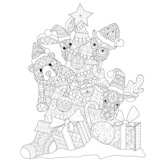 Hand drawn illustration of animal doll in zentangle style