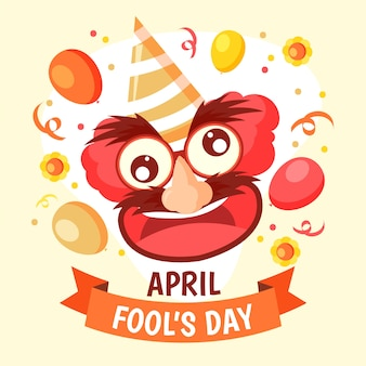 Hand drawn illustration for april fool's day with comic face